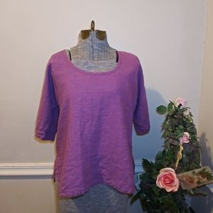 Flax Purple/Blue 100% Linen Lagenlook Tunic Top
